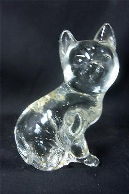 """Crystal Cat, Sitting Position, Clear Glass w/Bubbles 4.5""""T Excellent Condition"""