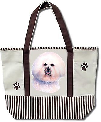 E&S Dog Tote Bag Cotton Canvas XL NEW - Bichon Frise