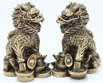 Feng Shui Pair of Elegant Chi Lin Dragon Horse Statue Figurine Gift US Seller