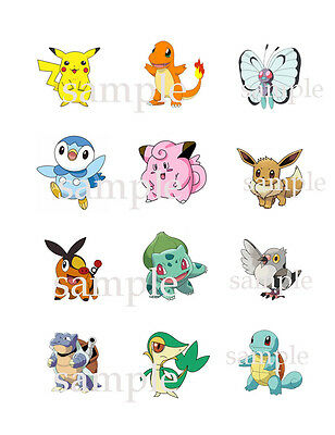 "12 Assorted  POKEMON CUPCAKE Toppers Edible ICING Image 2.1"" Circles"
