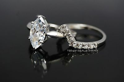 2.50 ctw  Marquise cut white solid real gold 14k engagement wedding ring's set