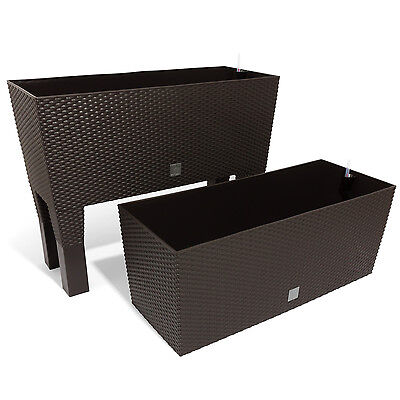 pflanztopf blumenk bel pflanz korb polyrattan eckig 2er set. Black Bedroom Furniture Sets. Home Design Ideas