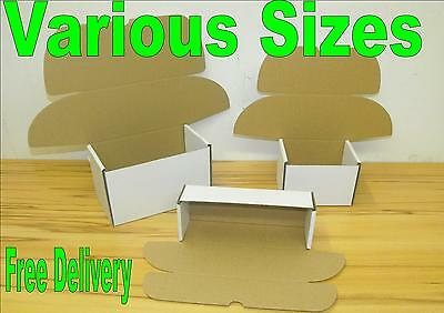 White mailing postal packing boxes single wall carton shipping various sizes