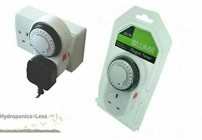 LUMii 24 Hour Plug in Timer for Grow Lights Ballasts HPS MH Light Kits & Fans