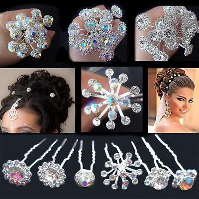 20 Shiny Silver Bridal Crystal Hairstyling Hair Pins Diamond Wedding Studs Prom