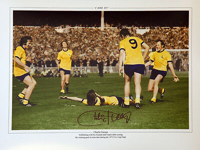 Charlie George Hand Signed Arsenal celebration  12x16 Photograph B   : New