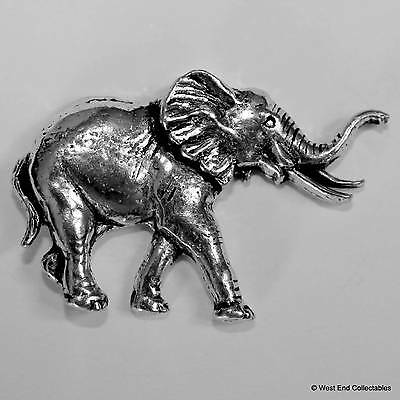 African Elephant Pewter Pin Brooch -British Hand Crafted- Asian Elephant Circus