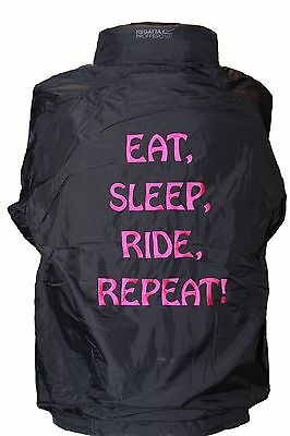 Personalised Embroidered Horse pony Riding Jacket Eat Sleep Ride Repeat