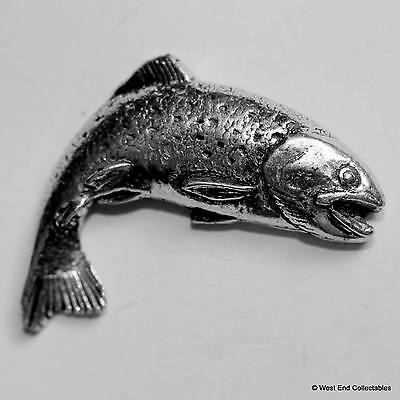 Turning Trout Pewter Pin Brooch -British Hand Crafted-  Fly Fishing Gift Present