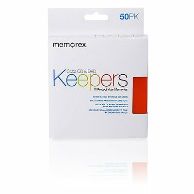 Memorex CD/DVD Keepers - Plastic Sleeves - 50 Pack, New, Free Shipping