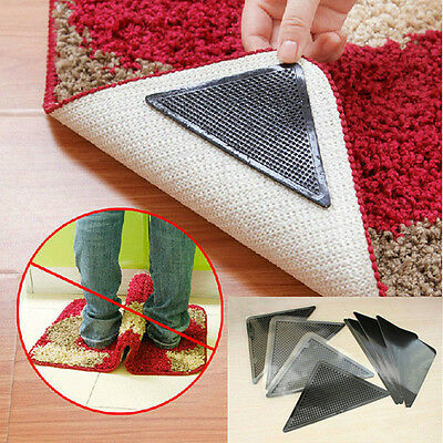 4X Rug Carpet Mat Grippers Non Slip Anti Skid Reusable Washable Silicone Grip L4
