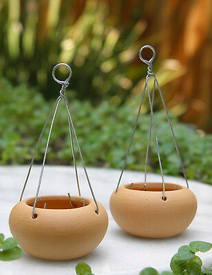 Miniature Dollhouse FAIRY GARDEN Accessories ~ Set of 2 Round Hanging Pots ~ NEW
