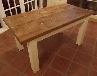 Rustic Solid Wood Plank Kitchen Dining Table - with white painted legs