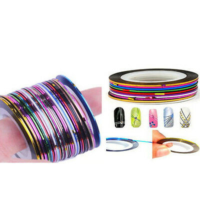 30 Pcs Mixed Colors Rolls Striping Tape Line Nail Art Tips Decoration Sticker DX