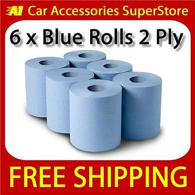 2 Ply Blue Centre Feed Paper Wipe Roll Pack Of 6 Massive 120mtr Rolls