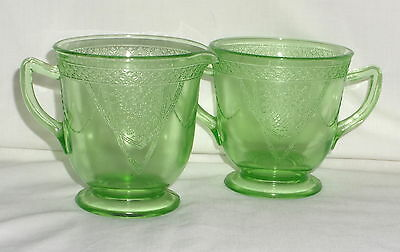 "Federal GEORGIAN GREEN *4"" LARGE CREAMER & SUGAR*"
