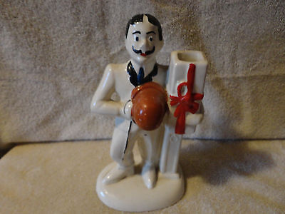 Roseville Pottery Moustached Man Carrying Gift R R P Co Derby Hat 1920's