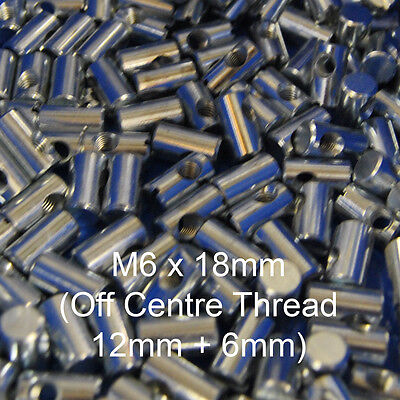 M6 x 18mm Cross Dowels/ Barrel Nuts (Off Centre Hole) for furniture, Beds & Cots