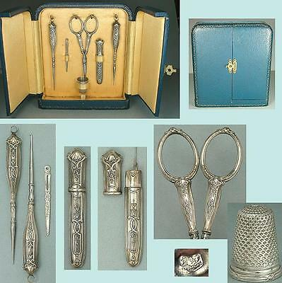 Antique Cased French Silver Sewing Set * Circa 1900