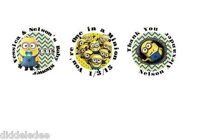 30 Minions Birthday or Baby Shower Stickers Lollipop Label Party Favors 1.5 inch
