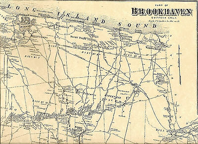 Wading River Shoreham Rocky Point NY1873 Map with Homeowners Names Shown