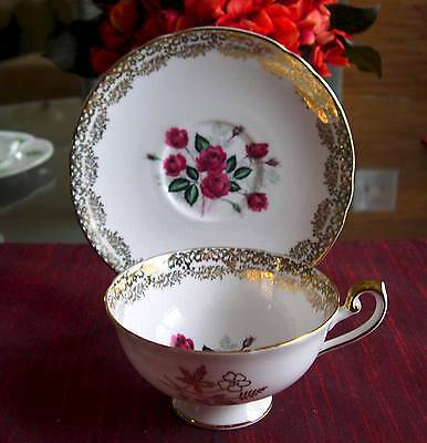 SHELLEY Fine Bone China     RARE  **DARK RED ROSE** #0631   Cup & Saucer