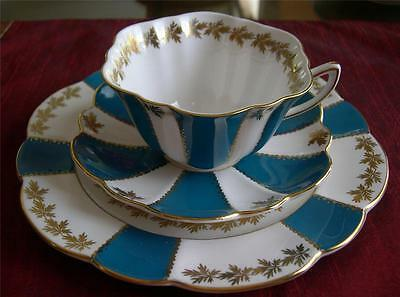 SHELLEY Fine Bone China   GOLD LEAF on TURQUOISE, Pattern# 0559  TRIO