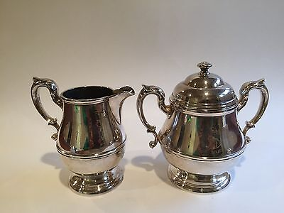 Poole Silver Co Creamer & Sugar Bowl EPNS 1128 Taunton Mass Monogrammed Letter P