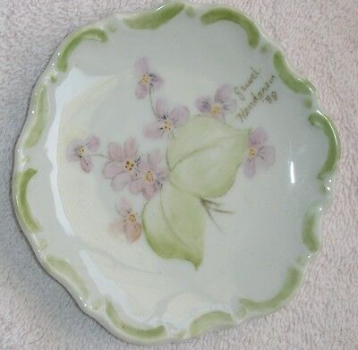 Amazing Antique 1888 Purple Violets Hand Painted Dish! Signed, Scalloped