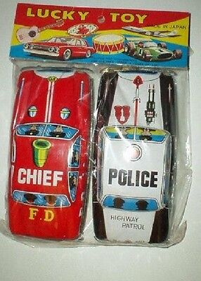 Vintage Lucky Toy Japan Tin Police and Fire Chief in original package