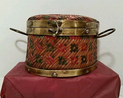 VINTAGE BOMBAY COMPANY RATTAN WOOD METAL BASKET WEAVE SMALL Box Container