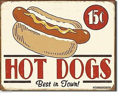 """Hot Dogs- Best In Town, 15Cents,  Usa,  Vintage-Style Steel Wall Sign 12.5""""x 16"""""""