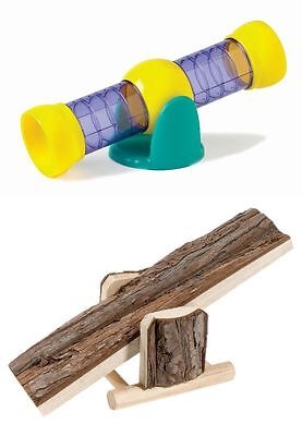 Hamster Mice Mouse Rat Gerbil Toy See-Saw Natural Wooden or Plastic Tube Tunnel