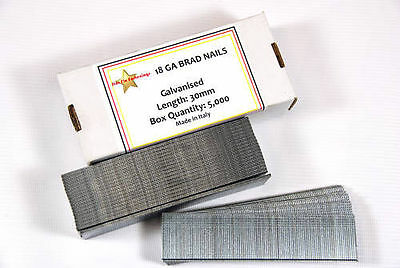 18 Gauge 30Mm Galvanised Brad Nails - Box 5000