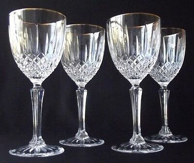 """4 D'arques/ Durand Constance Gold Trim 24% Lead Crystal Wine Goblets 6-3/4"""" T"""