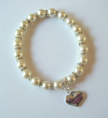 Ivory Pearl & Crystal Charm Bracelet With Choice Wedding & Family Message Heart