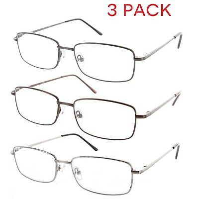 0e89426433d7 Fiore 3 Pack Metal Reading Glasses Spring Hinge Readers for Men and Women
