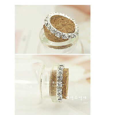 Cute 1 Row Crystal Rhinestone Paved Jewelry Ring Stretch Elastic Finger Ring