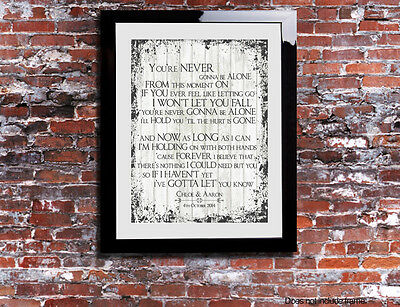 Nickleback Never Gonna Be Alone Lyrics Print Anniversary Personalised Canvas