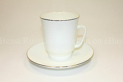 Russian IMPERIAL Lomonosov Porcelain Tea cup & saucer Golden edge Russia Gold