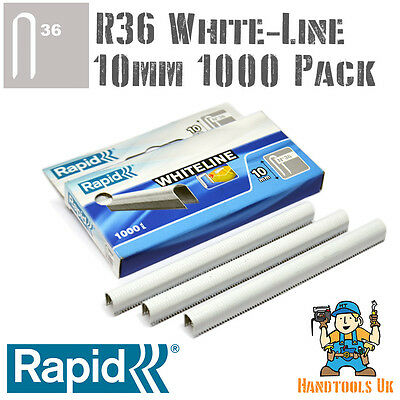 Cable Staples - Rapid R36 WHITELINE 10mm (White Coated) Handy 1000 Pack