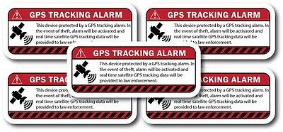 WARNING GPS TRACKING decal 5 pack Anti-Theft sticker for iphone, laptop, tablet