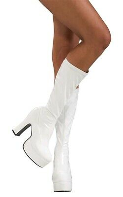 Sexy White Gogo Disco Adult Womens Platform Boots Shoes 60S 70S