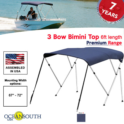 "Bimini Top 3 Bow 67""- 72"" Wide 6ft Long Blue PREMIUM RANGE With Rear Poles"