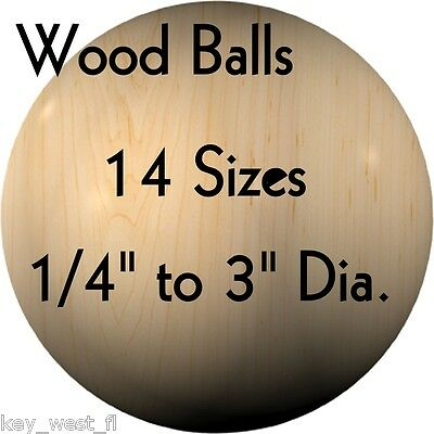"WOOD BALLS { Hardwood ~ USA Made } 1/4"" to 3"" Diameter { 14 Sizes! } by PLD"