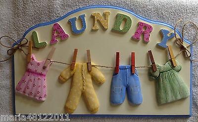 LAUNDRY Sign,with CLOTHES,40cmW x 24.5cmH x 3cmD,Wall,Door,Decorative,Crafts