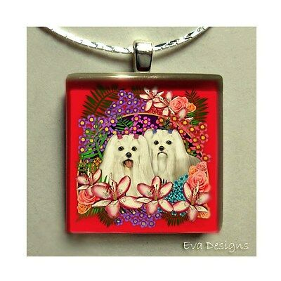 Maltese Dogs Flowers Necklace Gift Pet Art Jewelry Dangle Glass Tile Pendant