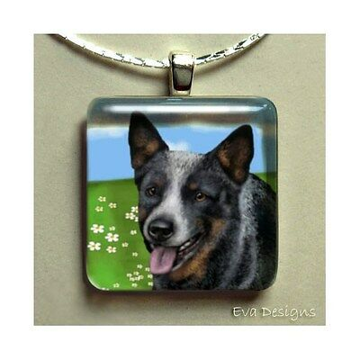 Australian Cattle Dog Glass Tile Pendant Necklace With Chain