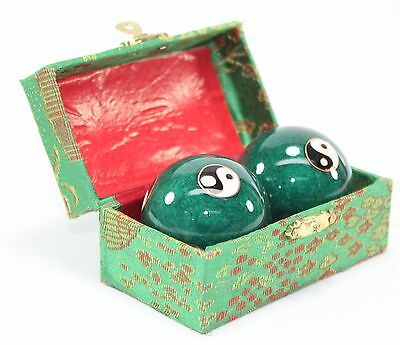 Set of 2 Green Taiji Iron Ball Hand Stress Relief EXERCISE Finger Health Therapy
