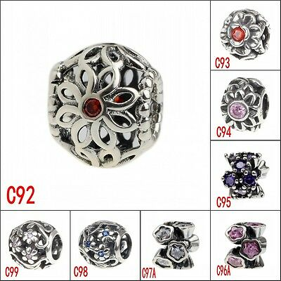 Authentic 925 Sterling Silver European Style crystal Bead Charms Fashion Jewelry